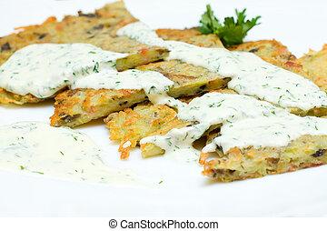 Potato Latkes for Hanukkah closeup
