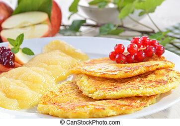 Potato pancakes - Baked potato pancakes with applesauce, ...