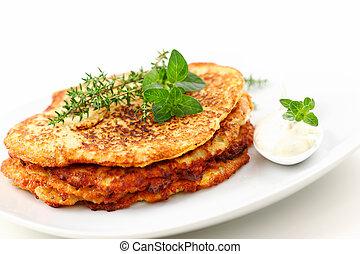 Potato pancakes - Delicious potato pancakes with curd cheese...