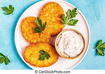 Potato pancakes, hash braun. - Potato pancakes, hash braun,...