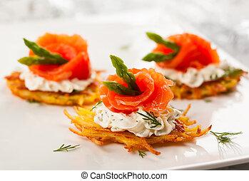 Potato pancakes topped with smoked salmon,asparagus and sour...