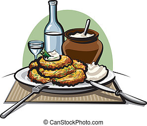 Potato pancakes with sour cream and vodka