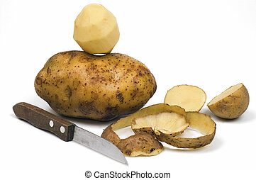 Potato - Pilled potato isolated