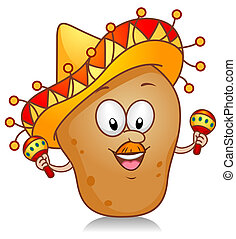 Potato Playing with Maracas - Illustration of a Potato...