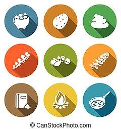 Potato products Icons Set. Vector Illustration.