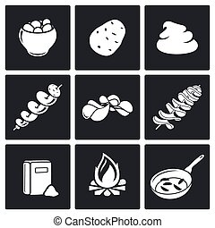Potato products Vector Icons Set