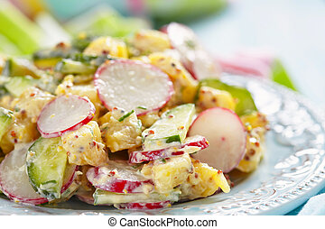 potato salad with cucumber and radish