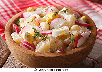 potato salad with radish and mayonnaise close-up. horizontal