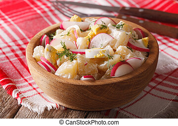 potato salad with radish and mayonnaise in a bowl close-up