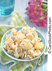 Potato salad with sour cream sauce