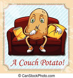 Potato sitting on a couch
