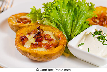 Potato Skins Appetizer with Cheese and Bacon