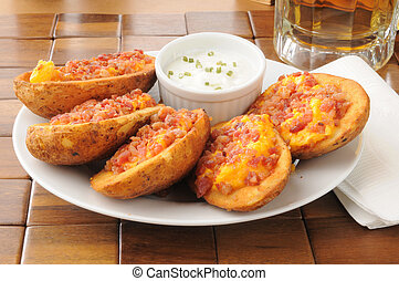 Potato skins iwth bacon and cheese - Potato skins stuffed...