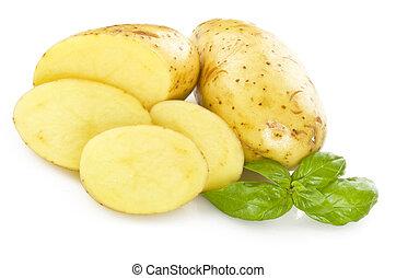 potato sliced  on the white background close up
