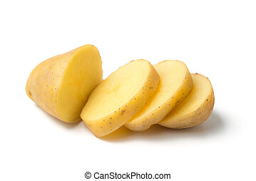 potato slices isolated on white background