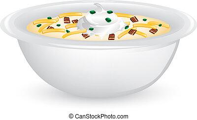 Potato Soup Supreme - Illustration of a bowl of potato soup ...