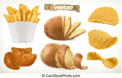 Potato, wedges and fry chips. Vegetable. 3d vector icon set