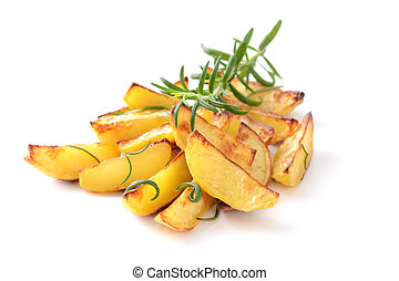 Potato wedges - Baked potato wedges with rosemary on a white...