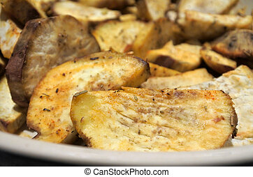 Potato wedges food background