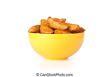 Potato wedges from the oven. Isolated on white.