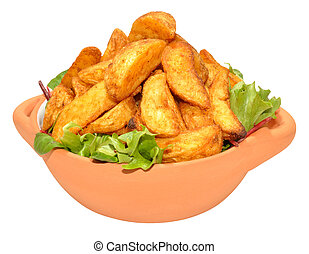 Potato Wedges In Bowl - Potato wedges in a bowl with lettuce...