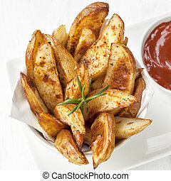 Potato Wedges with Rosemary and Ketchup