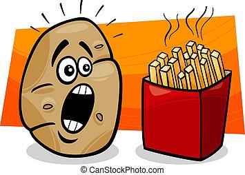 potato with french fries cartoon - Cartoon Concept...