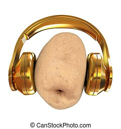 potato with headphones on a white background. 3d illustration