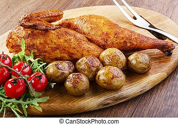 potatoe, 鶏, 焼かれた, 新しい, 半分