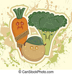Potatoes, carrots, broccoli, standing in military uniform....