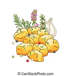 Potatoes dish vector illustration with spices