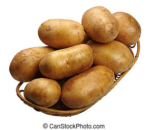 Potatoes in a basket, isolated