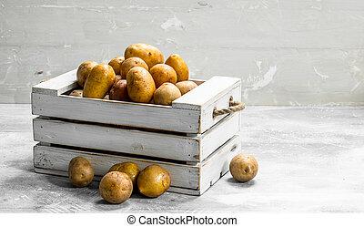 Potatoes in a box.