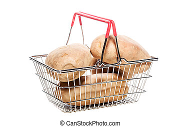 potatoes in a shopping basket
