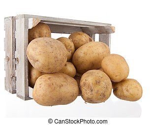 potatoes in a wooden crate
