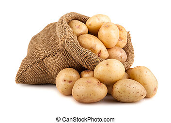 Potatoes in sack - Ripe potatoes in burlap sack isolated on ...