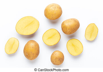 Potatoes isolated on white background. Flat lay. Top view.