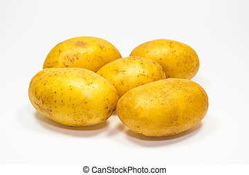 Potatoes isolated with white background.