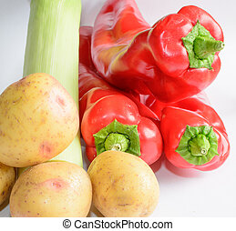 Potatoes leek and red peppers