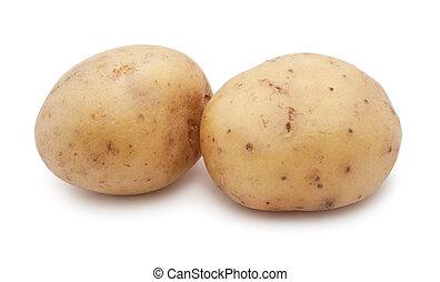 New fresh potatoes isolated on white background