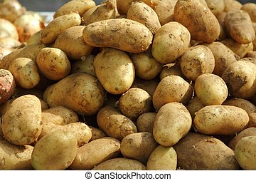 potatoes on market texture background - potatoes on stack...
