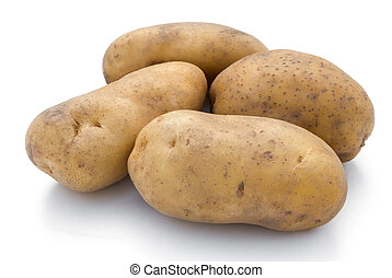 potatoes on white with clipping path