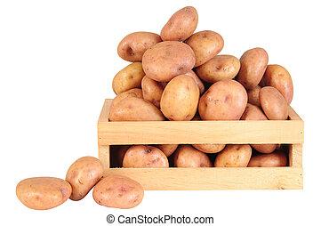 Potatoes - Raw potatoes over white