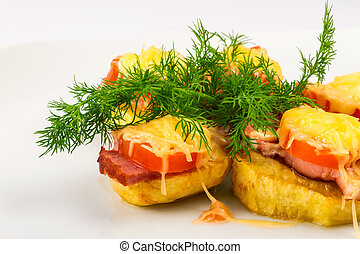 potatoes sandwiches - sandwiches made ??from potatoes, bacon...
