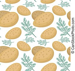Potatoes seamless pattern. Praties endless background, texture. Vegetable backdrop. Vector illustration.