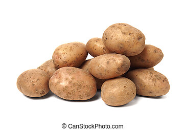 Potatoes - Stack of potatoes isolated on white background