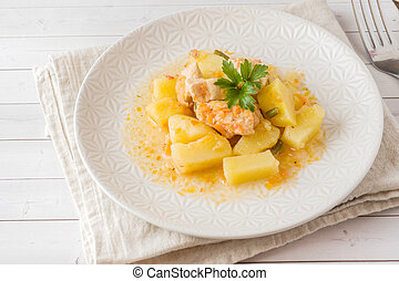 Potatoes stewed with chicken and vegetables on a plate.