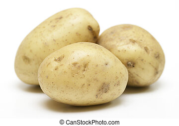 Potatoes - Three potatoes isolate on a white background