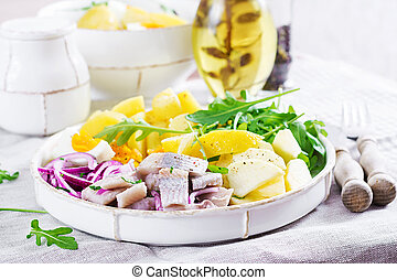 potatoes., traditionnel, salade, pommes, cuisine., salé, ...