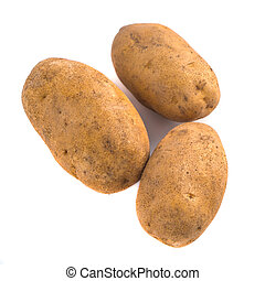 potatos isolated on white background close up